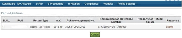 Selecting the Return to Refund Re-Issue Request